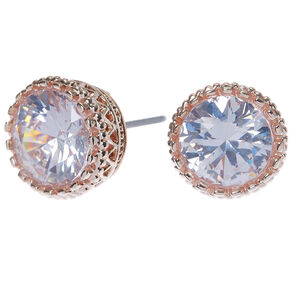 Rose Gold Cubic Zirconia Round Vintage Stud Earrings - 8MM,