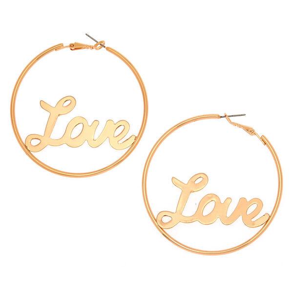 Claire's - 60mm love hoop earrings - 1