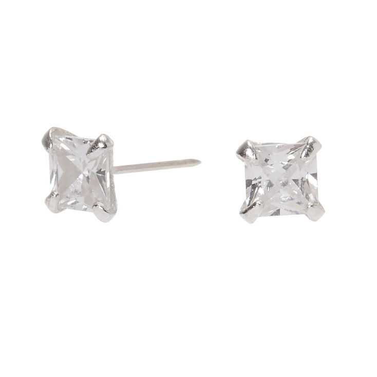 Sterling silver square cubic zirconia studs