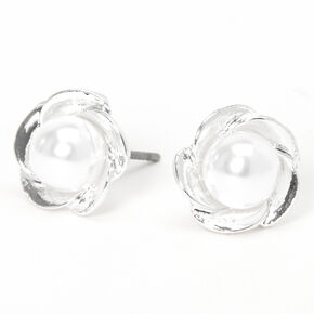 Clous d'oreilles fleur en perle d'imitation couleur argentée,