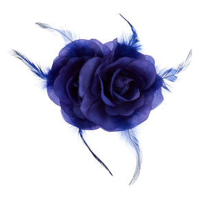 Double Rose Hair Flower Clip - Royal Blue,
