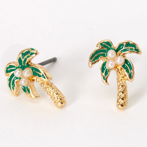 Gold Pearl Palm Tree Stud Earrings,