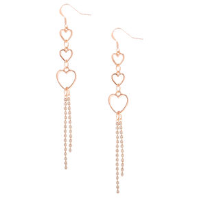 "Rose Gold 3.5"" Trio Heart Embellished Drop Earrings,"