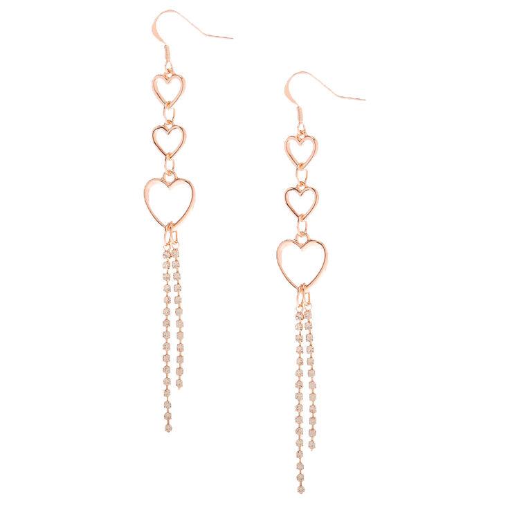 "Rose Gold 3.5"" Trio Heart Embellished Drop Earrings,"