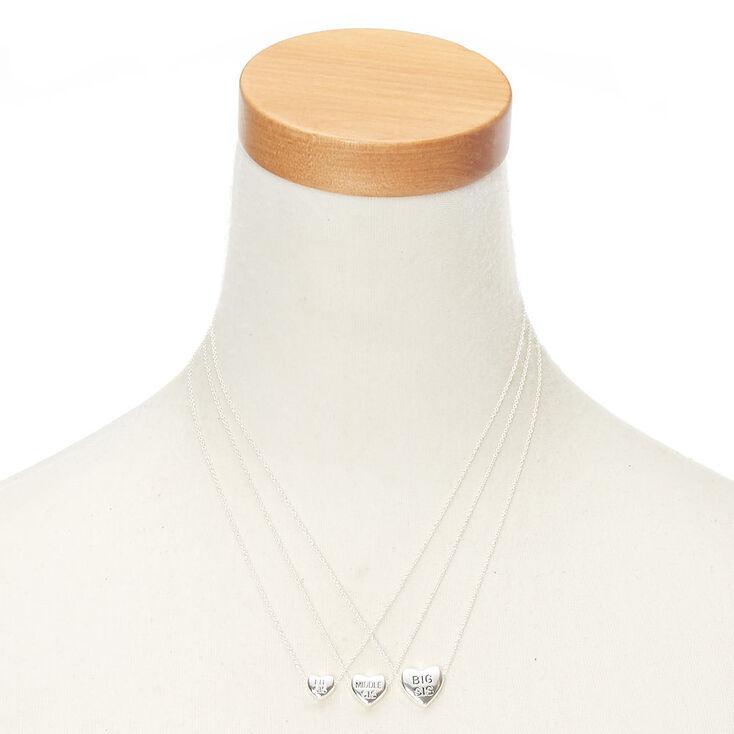 Best Friends Silver Sister Heart Pendant Necklaces - 3 Pack,