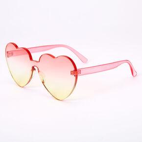 Ombre Sunset Heart Frameless Sunglasses - Pink,