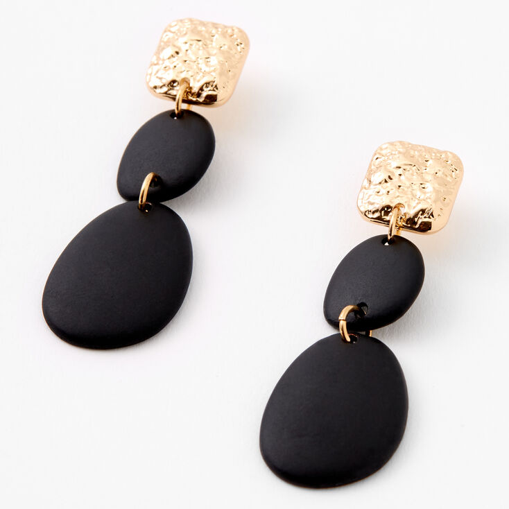 "Gold  2"" Hammered Geometric Drop Earrings - Black,"
