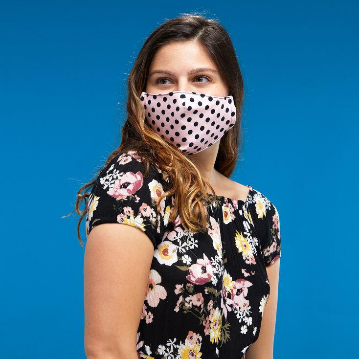 3 Pack Cotton Black and Pink Polka Dot Face Masks – Adult,