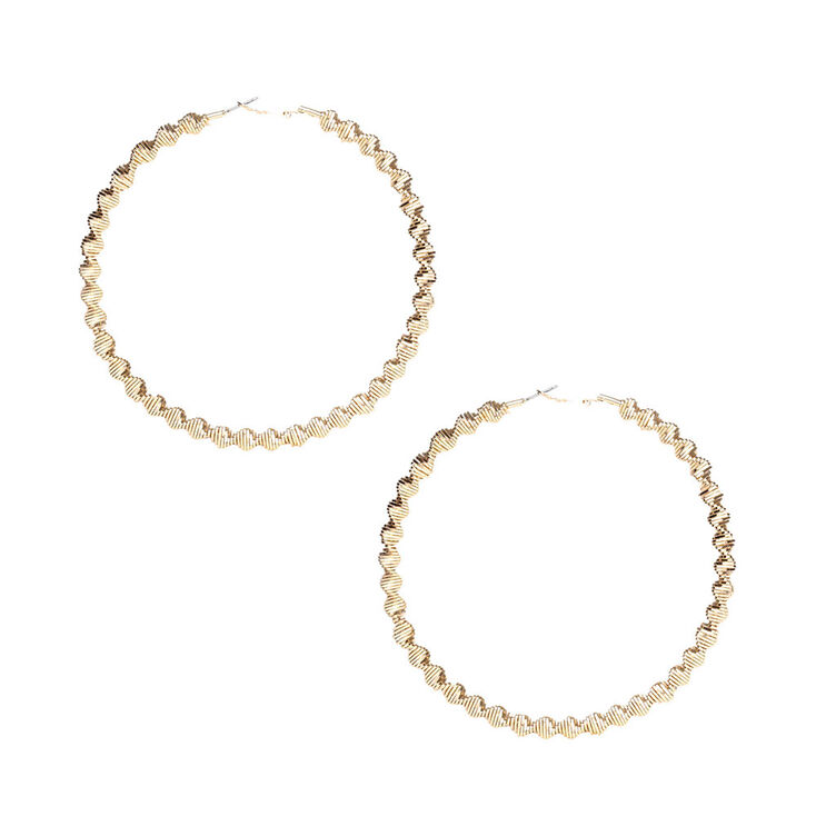 100mm Gold Twisted Hoop Earrings Claire S