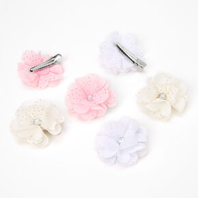 Claire's Club Pastel Chiffon Flower Hair Clips - 6 Pack,