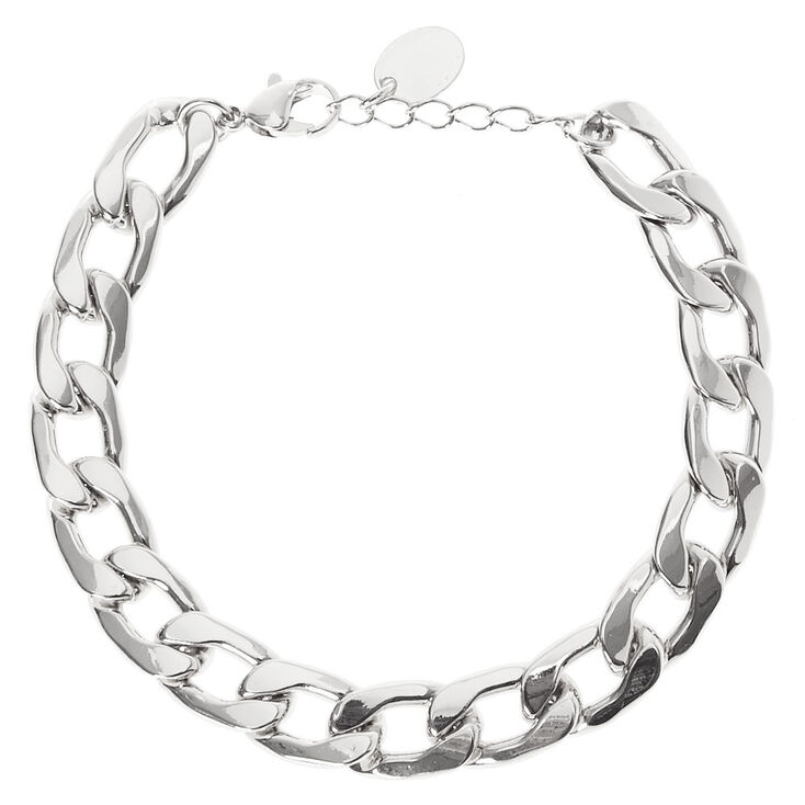 Bracelet maillons de chaîne couleur argentée,