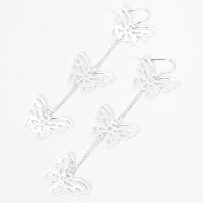 "Silver 3"" Triple Butterfly Linear Drop Earrings,"