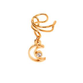 Gold Moon Charm Ear Cuff,