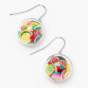 Pendantes confettis fruits mobiles 2,5cm couleur argentée,