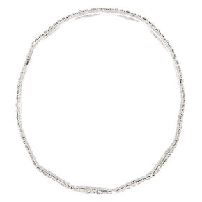Silver Rhinestone Infinity Bangle Bracelet,