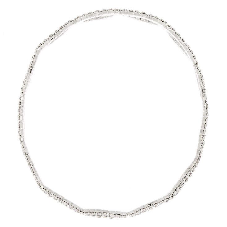 Bracelet fin bangle symbole de l'infini avec strass couleur argenté,