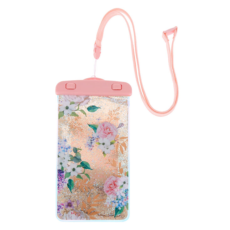 promo code ccb3a 989d6 Floral Shaky Glitter Waterproof Phone Pouch - Pink