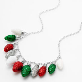 Silver Glitter Christmas Light Bulb Statement Necklace,