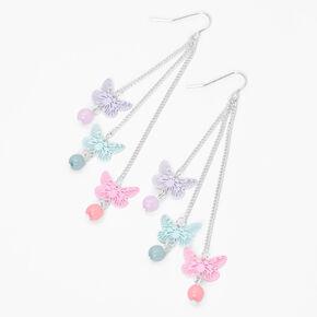 """Silver 3"""" Triple Butterfly Pastel Linear Drop Earrings,"""