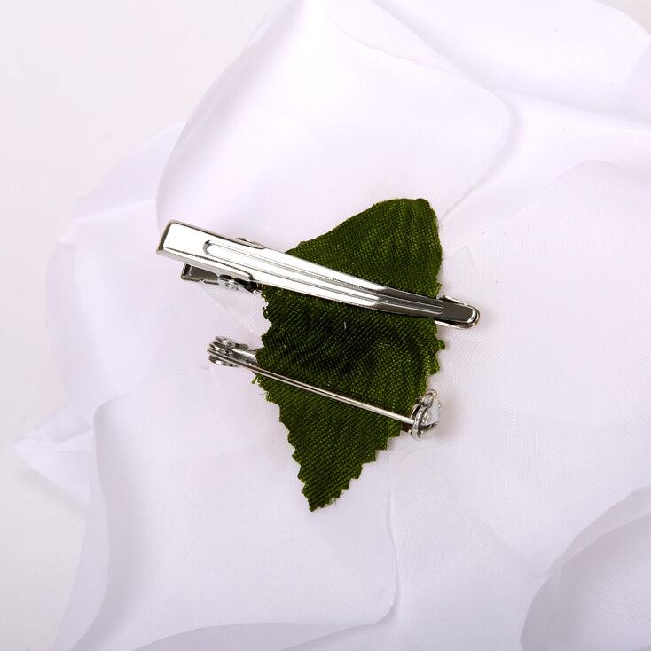Chiffon Rose Hair Clip & Pin - White,