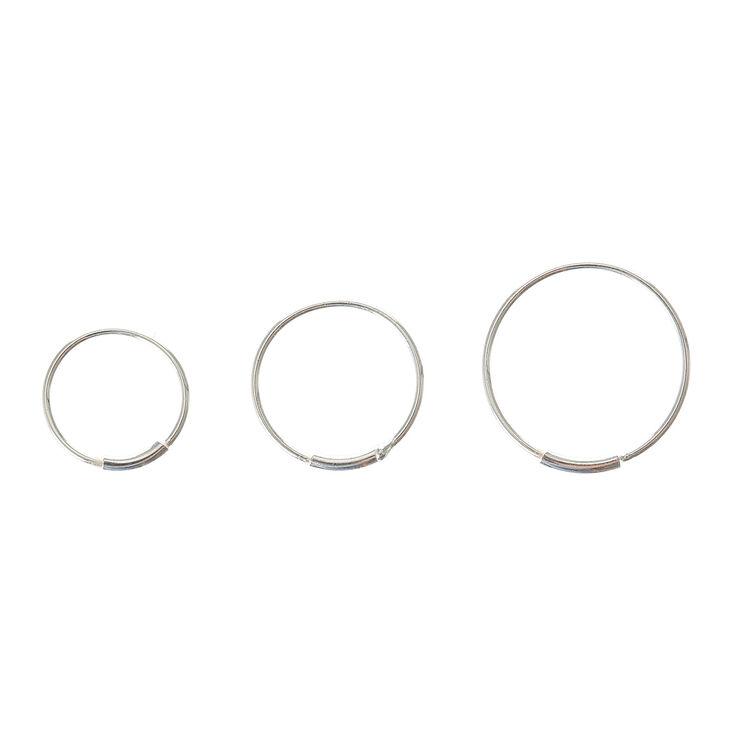 Sterling Silver Graduated Bar Hoop Nose Rings - 3 Pack,