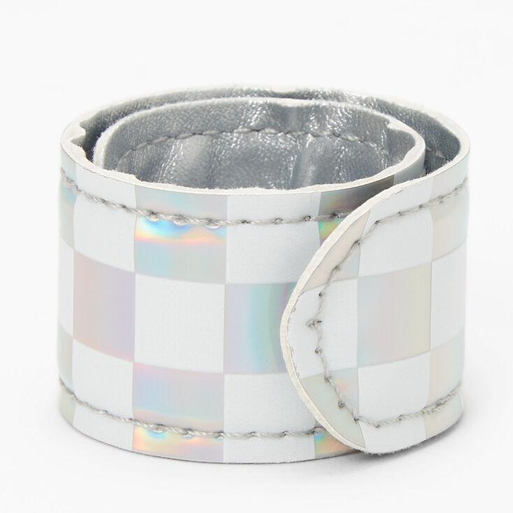 Holographic Checkered Slap Bracelet,