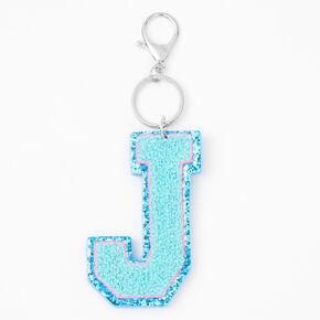 Blue Varsity Initial Keyring - J,