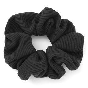 Medium Ribbed Hair Scrunchie - Black,