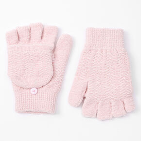 Chenille Fingerless Gloves With Mitten Flap - Blush Pink,