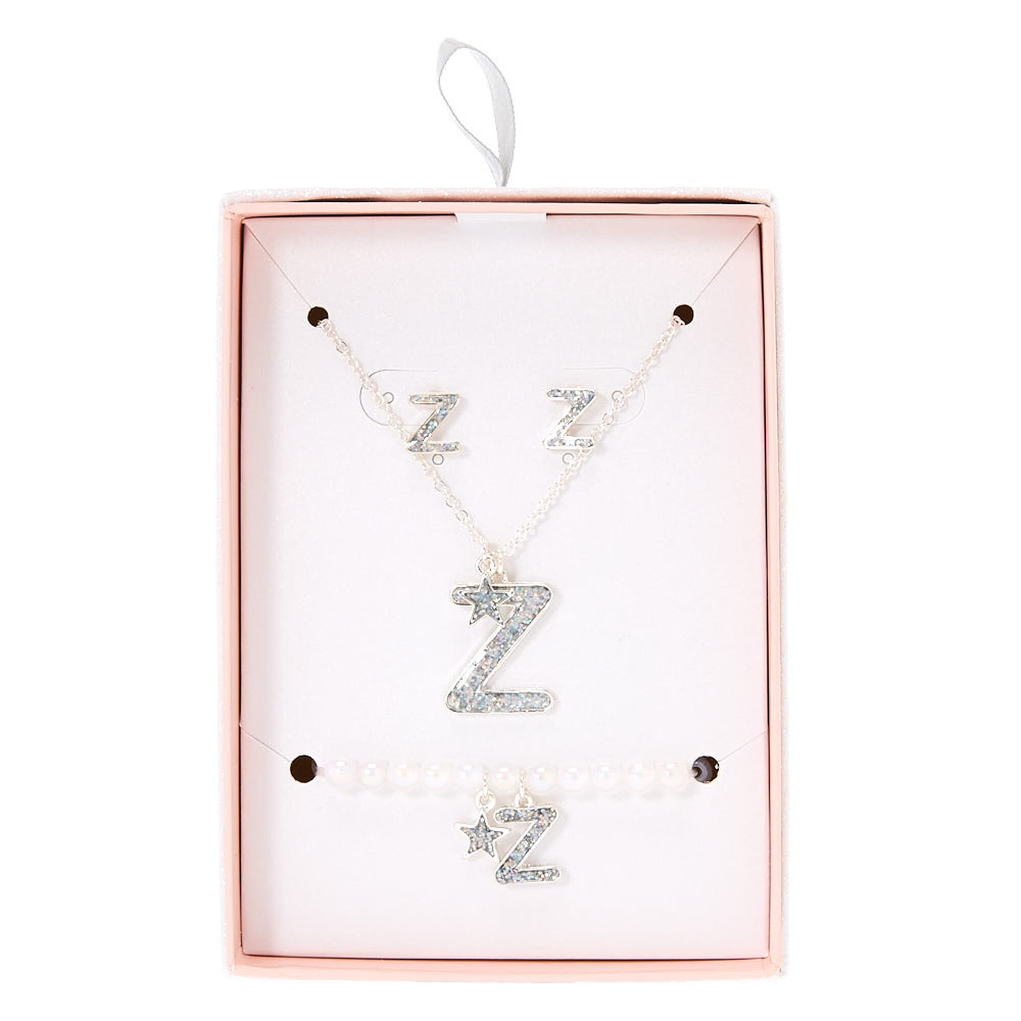 Silver Iridescent Glitter Initial Letter Z Jewellery Set