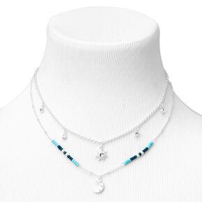 Silver Celestial Beaded Multi Strand Necklace - Blue,