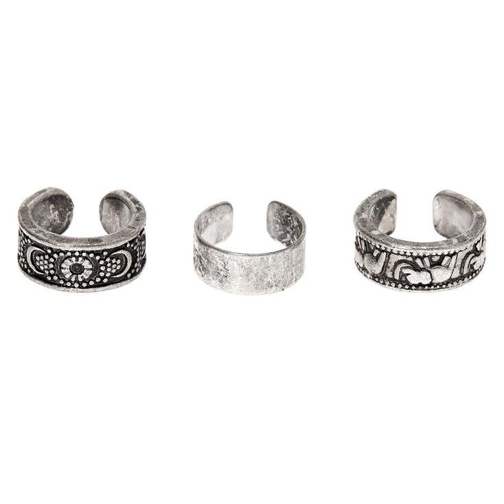 Silver Elephant Moon Ear Cuffs - 3 Pack,
