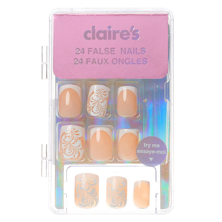 Swirl Filigree French Tip Square Faux Nail Set - 24 Pack,