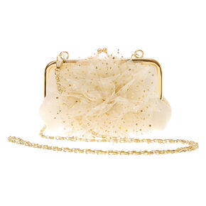 Claire's Club Gold Flower Crossbody Bag - Ivory,