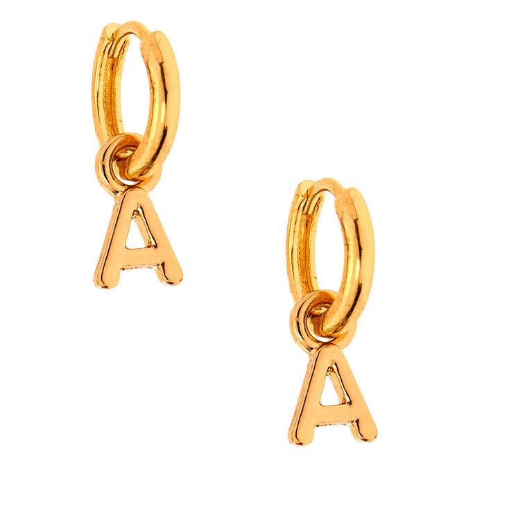Gold 10MM Initial Huggie Hoop Earrings - A,