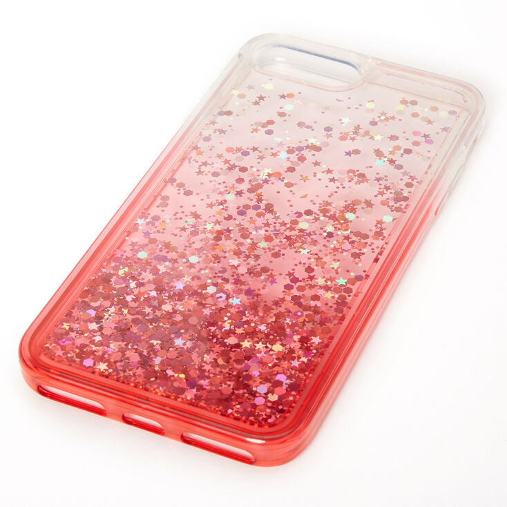 Red Glitter Star Liquid Fill Phone Case - Fits iPhone 6/7/8 Plus,
