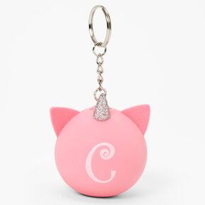 Initial Unicorn Stress Ball Keychain - Pink, C,