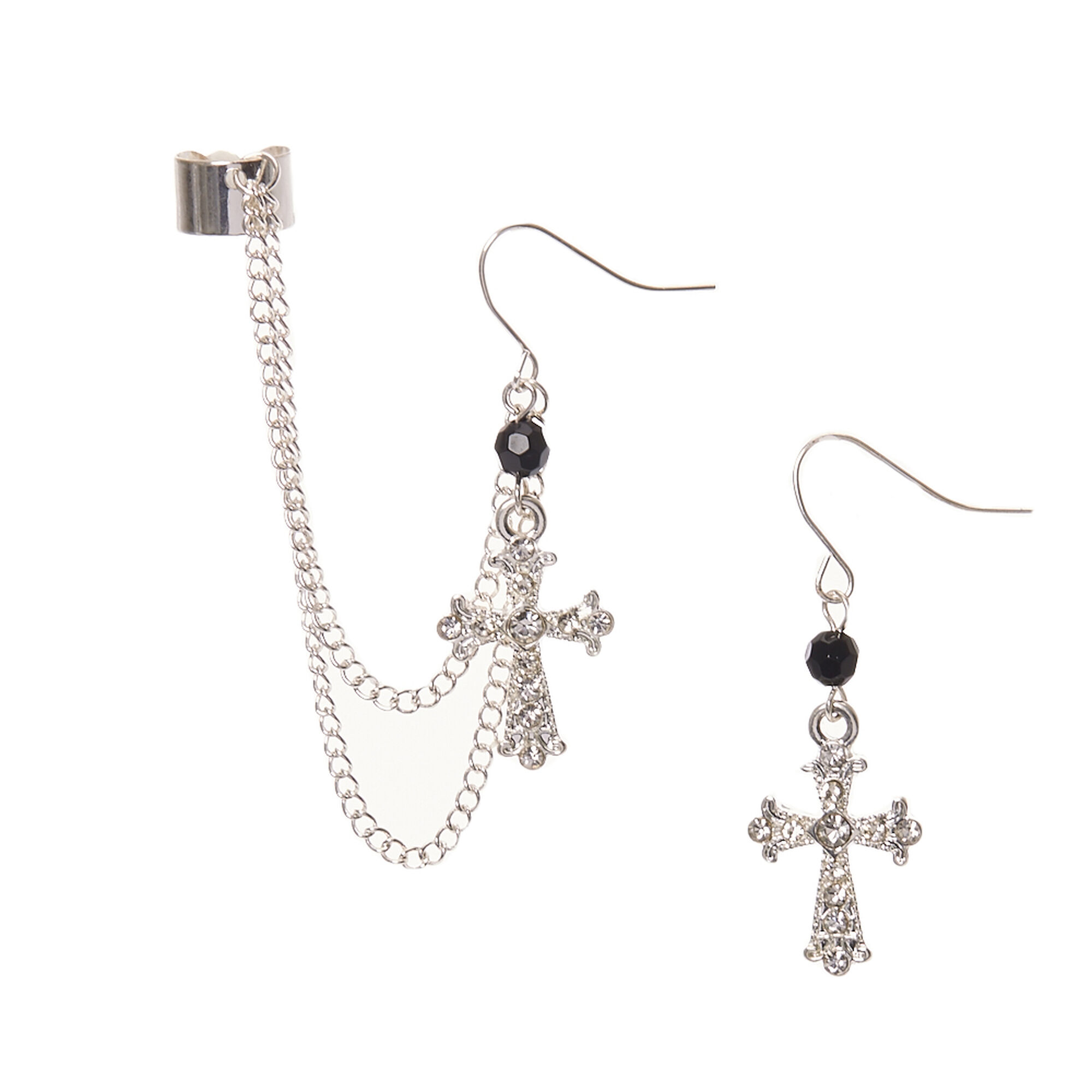 Silver Tone Gothic Cross Chain Ear Cuff And Drop Earring Set
