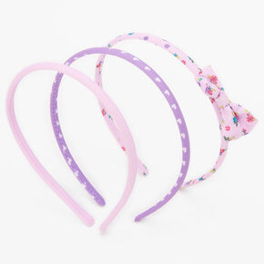 Claire's Club Purple Floral Headbands - 3 Pack,
