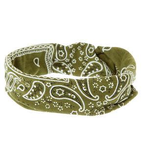Bandana Twisted Headwrap - Olive Green,