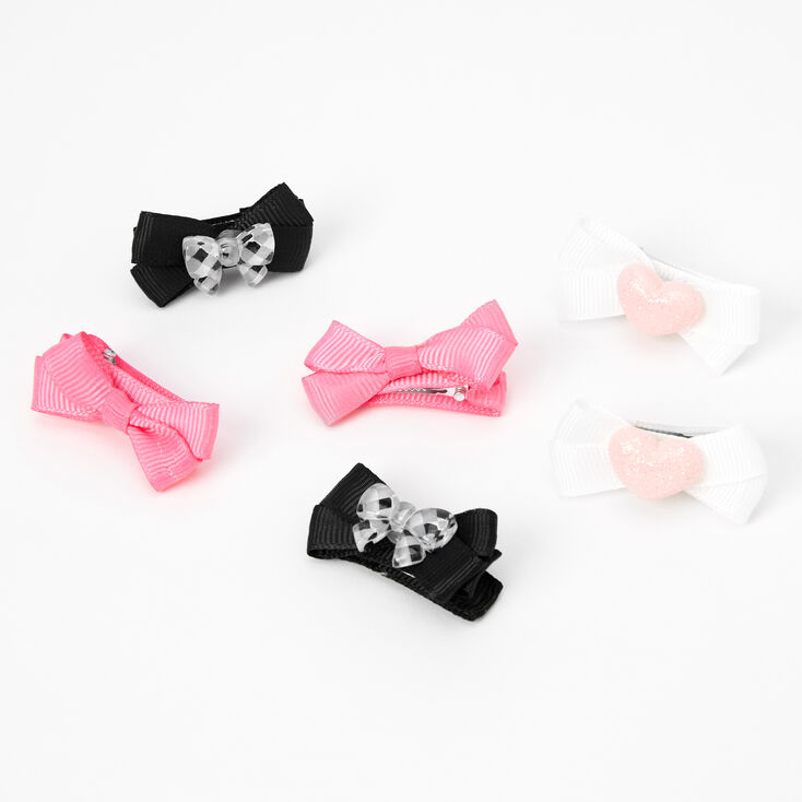 Claire's Club Small Ribbon Bow Hair Clips - 6 Pack,