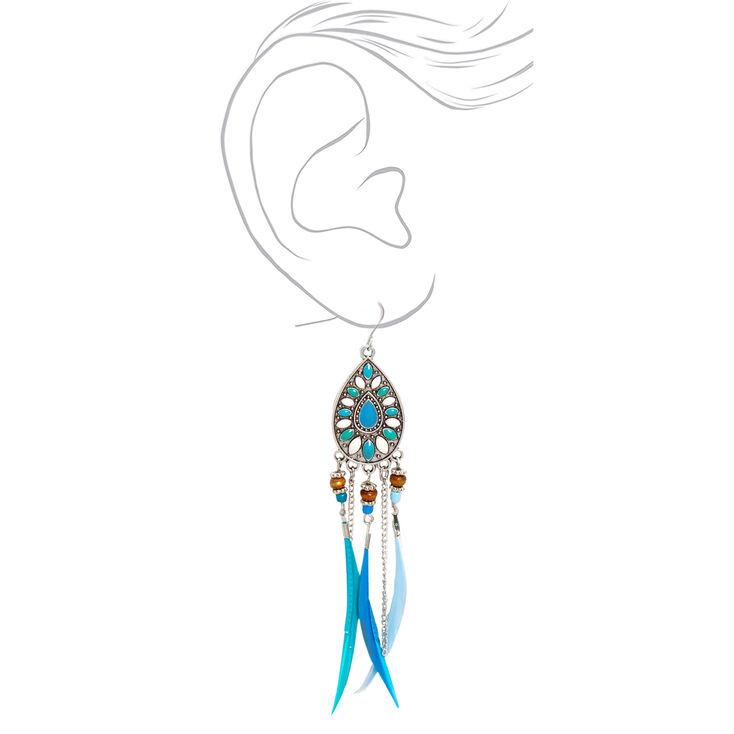 """Silver 4"""" Boho Feather Drop Earrings - Blue,"""
