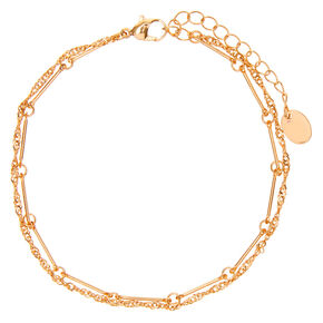 Gold Twisted Chain Link Multi Strand Anklet,