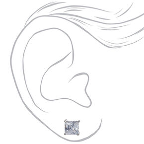 Silver Cubic Zirconia Square Stud Earrings - 7MM,