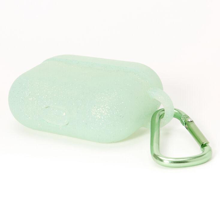 Étui pour écouteurs motif cœur en silicone à paillettes vertes - Compatible avec les AirPods Pro® de Apple,
