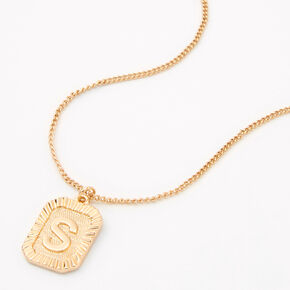 Gold Rectangle Medallion Initial Pendant Necklace - S,