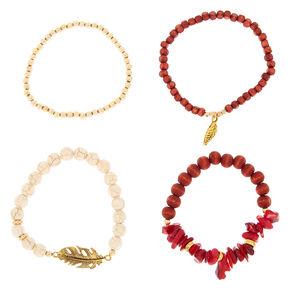Desert Bead Stretch Bracelets - Red, 4 Pack,