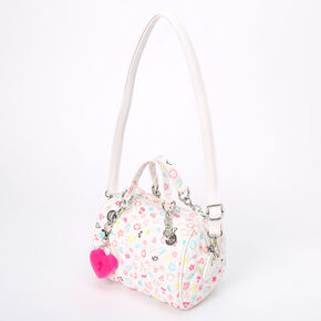 Quilted Signature Print Handbag - White,