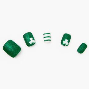 Glitter Shamrock Press On Faux Nail Set - 24 Pack,