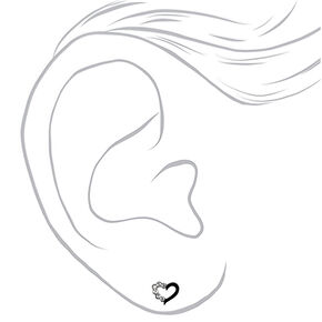 Sterling Silver Crystal Heart Stud Earrings - Black,